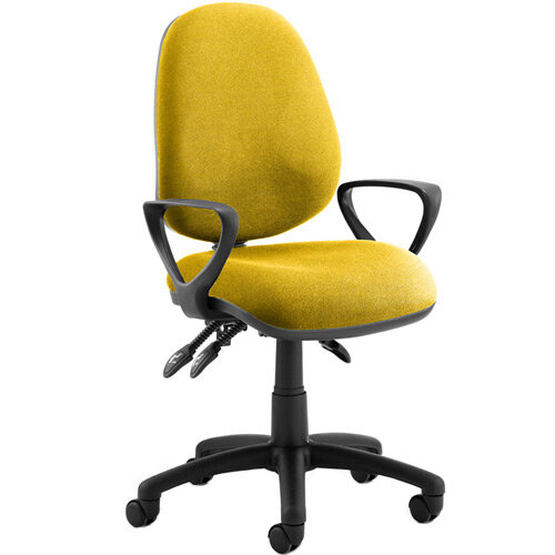 Luna III Lever Task Operator Office Chair With Loop Arms In Sunset Yellow