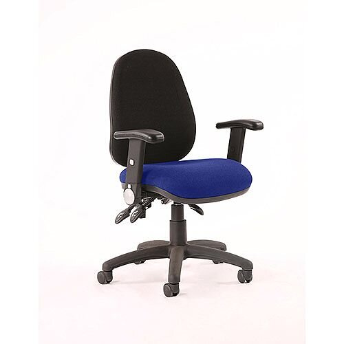Luna III Lever Task Operator Office Chair With Height Adjustable &Folding Arms Black Back Serene Blue Seat