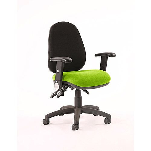 Luna III Lever Task Operator Office Chair With Height Adjustable &Folding Arms Black Back Swizzle Green Seat