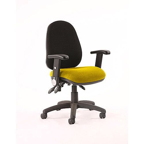 Luna III Lever Task Operator Office Chair With Height Adjustable &Folding Arms Black Back Sunset Yellow Seat