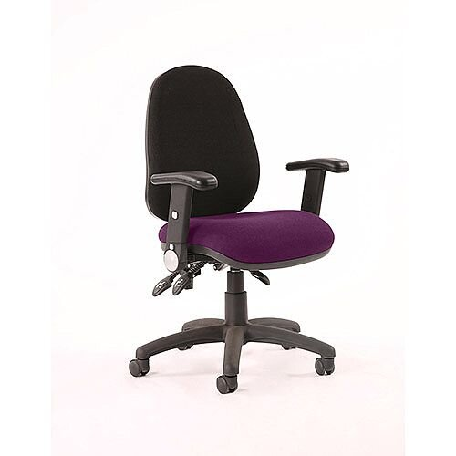 Luna III Lever Task Operator Office Chair With Height Adjustable &Folding Arms Black Back Purple Seat