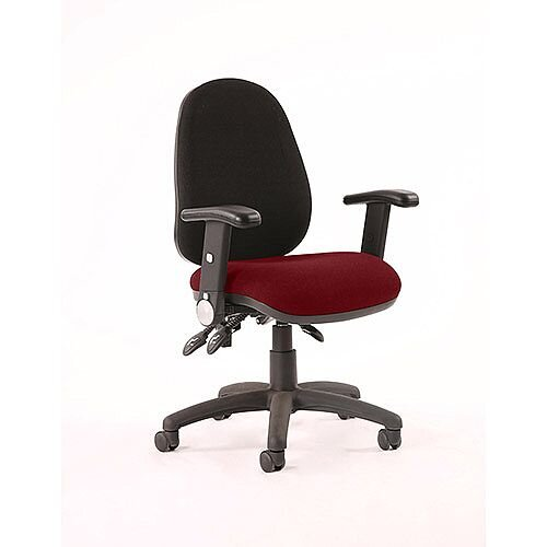 Luna III Lever Task Operator Office Chair With Height Adjustable &Folding Arms Black Back Chilli Red Seat
