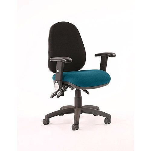 Luna III Lever Task Operator Office Chair With Height Adjustable &Folding Arms Black Back Kingfisher Green Seat
