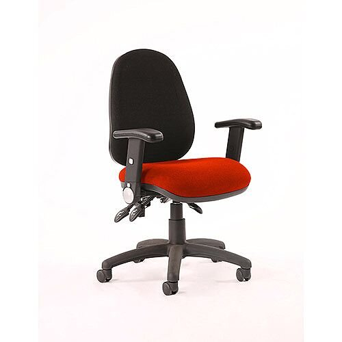 Luna III Lever Task Operator Office Chair With Height Adjustable &Folding Arms Black Back Pimento Rustic Orange Seat