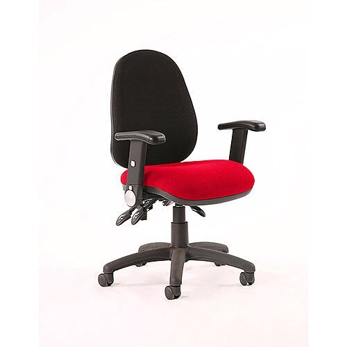 Luna III Lever Task Operator Office Chair With Height Adjustable Arms Black Back Cherry Red Seat