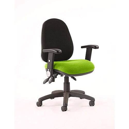 Luna III Lever Task Operator Office Chair With Height Adjustable Arms Black Back Swizzle Green Seat