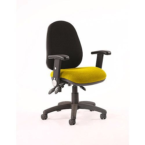 Luna III Lever Task Operator Office Chair With Height Adjustable Arms Black Back Sunset Yellow Seat