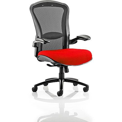 Houston Heavy Duty Task Operator Office Chair Black Mesh Back Cherry Red Seat