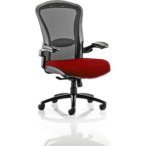 Houston Heavy Duty Task Operator Office Chair Black Mesh Back Chilli Red Seat