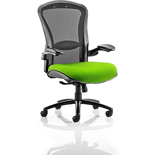 Houston Heavy Duty Task Operator Office Chair Black Mesh Back Swizzle Green Seat
