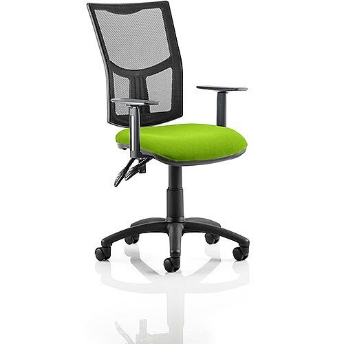 Eclipse II Lever Task Operator Office Chair With Height Adjustable Arms Mesh Back &Swizzle Green Seat