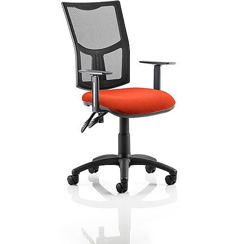 Eclipse II Lever Task Operator Office Chair With Height Adjustable Arms Mesh Back &Pimento Rustic Orange Seat