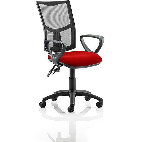 Eclipse II Lever Task Operator Office Chair With Loop Arms Mesh Back Cherry Red Seat