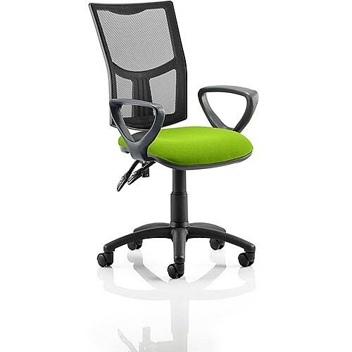 Eclipse II Lever Task Operator Office Chair With Loop Arms Mesh Back Swizzle Green Seat