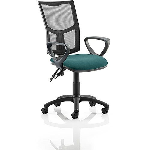 Eclipse II Lever Task Operator Office Chair With Loop Arms Mesh Back Kingfisher Green Seat