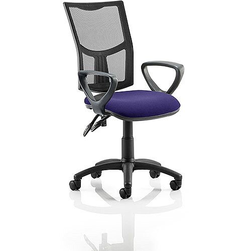 Eclipse II Lever Task Operator Office Chair With Loop Arms Mesh Back Purple Seat