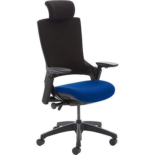 Molet Task Exec Black Frame Black Fabric Back Office Chair With Black Fabric Headrest &Serene Blue Seat