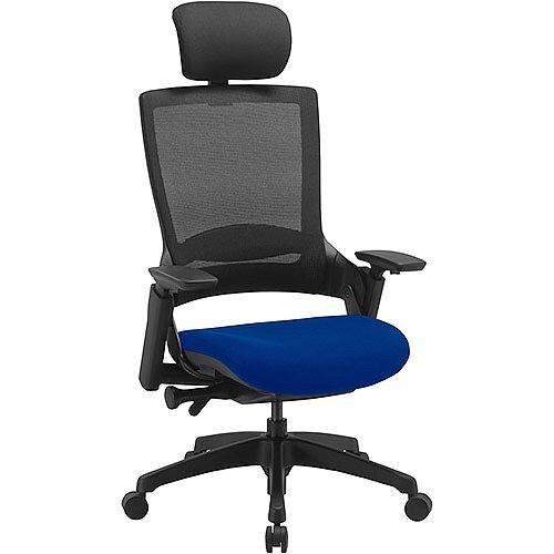 Molet Task Exec Black Frame Black Mesh Back Office Chair With Black Fabric Headrest &Serene Blue Seat