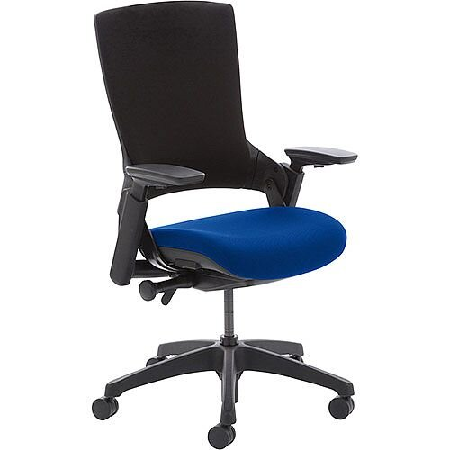 Molet Task Exec Black Frame Black Fabric Office Chair With Serene Blue Seat