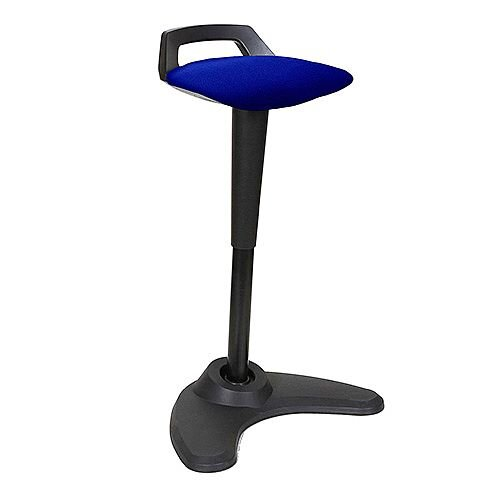Spry Sit-Stand Stool Black Frame Fabric Seat Serene Blue