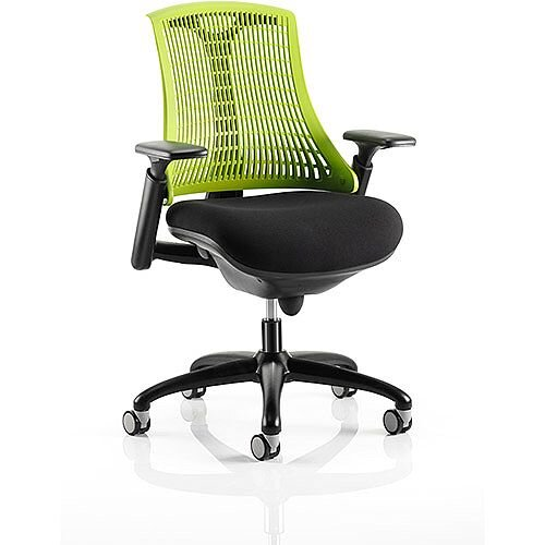 Flex Task Operator Office Chair Black Frame With Black Fabric Seat Green Back With Arms