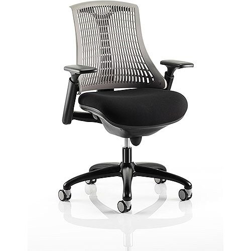 Flex Task Operator Office Chair Black Frame With Black Fabric Seat Grey Back With Arms