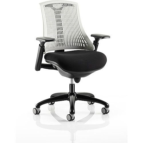 Flex Task Operator Office Chair Black Frame With Black Fabric Seat Moonstone White Back With Arms