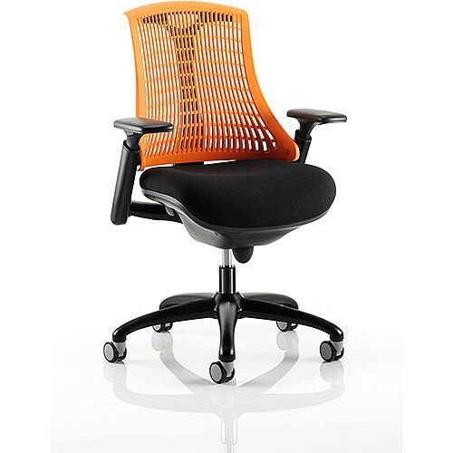 Flex Task Operator Office Chair Black Frame With Black Fabric Seat Orange Back With Arms