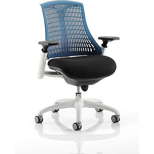 Flex Task Operator Office Chair White Frame Black Fabric Seat With Blue Back With Arms