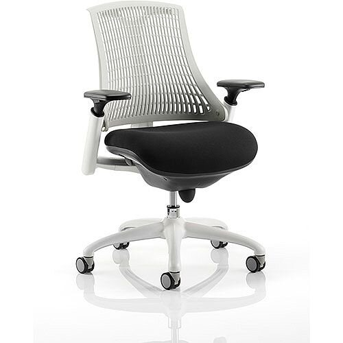 Flex Task Operator Office Chair White Frame Black Fabric Seat With Moonstone White Back With Arms