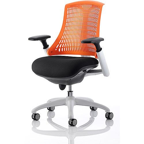 Flex Task Operator Office Chair White Frame Black Fabric Back With Orange Back With Arms