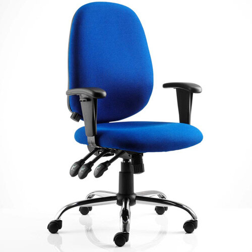 Lisbon Task Operator Office Chair Blue Fabric With Arms