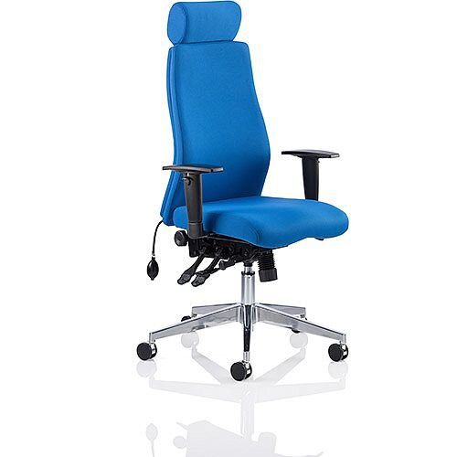 Onyx Ergo Posture Office Chair Blue Fabric With Headrest With Arms