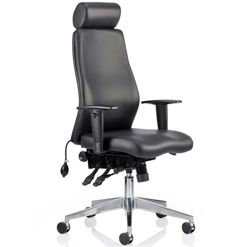 Onyx Ergo Posture Office Chair Black Bonded Leather With Headrest With Arms