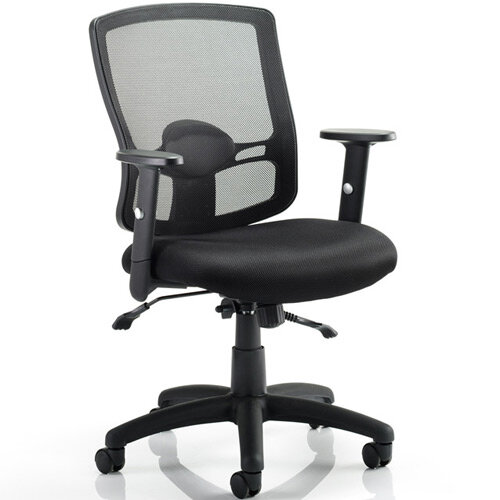 Portland II Task Operator Office Chair Black Mesh With Arms