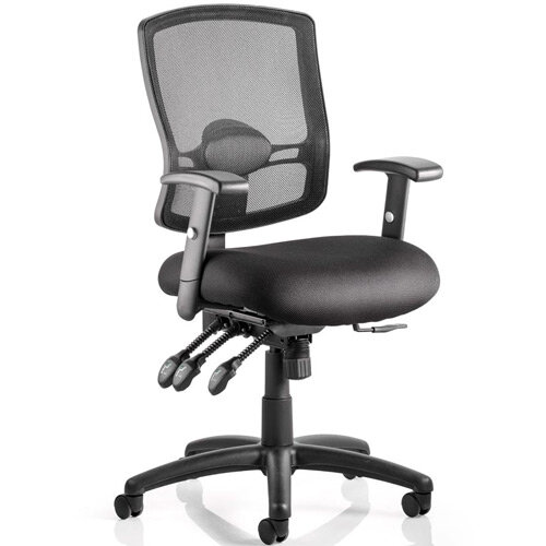 Portland III Task Operator Office Chair Black Mesh Back With Arms