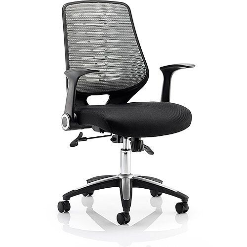 Relay Task Operator Office Chair Airmesh Seat Silver Back With Arms