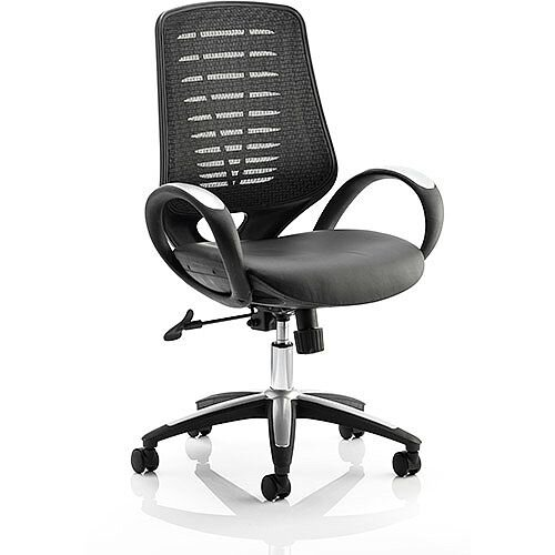 Sprint Task Operator Office Chair Soft Mesh Back Black Leather Seat With Arms