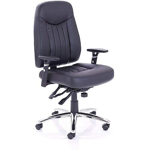 Barcelona Plus Task Operator Office Chair Black Leather With Arms