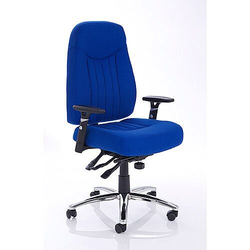 Barcelona Plus Task Operator Office Chair Blue Fabric With Arms