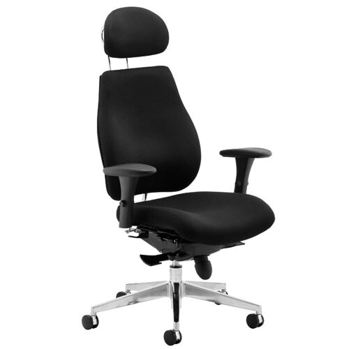 Chiro Plus Ergo Posture Office Chair Black With Arms &Headrest