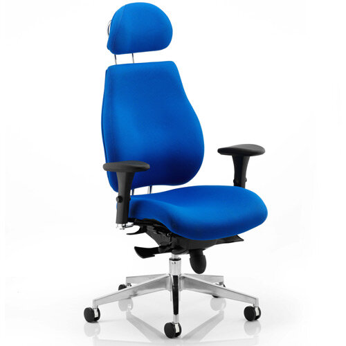 Chiro Plus Ergo Posture Office Chair Blue With Arms &Headrest