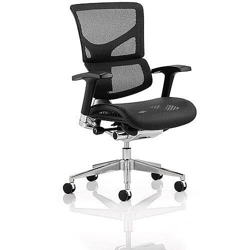 Ergo-Dynamic Ergonomic Posture Office Chair With a Black Frame, Black Mesh Fabric &Steel Legs