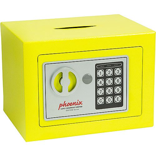 Phoenix SS0721EYD Compact Home Office Security Safe 4L With Electronic Lock &Deposit Slot Yellow