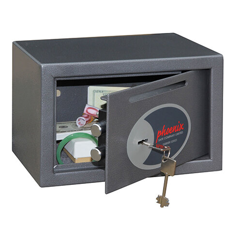 Phoenix Vela Deposit Home &Office SS0801KD Size 1 Security Safe with Key Lock Metalic Graphite 10L