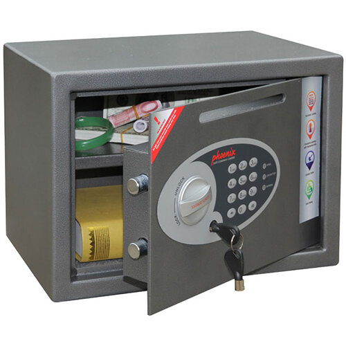 Phoenix Vela Deposit Home &Office SS0802ED Size 2 Security Safe with Electronic Lock Metalic Graphite 17L