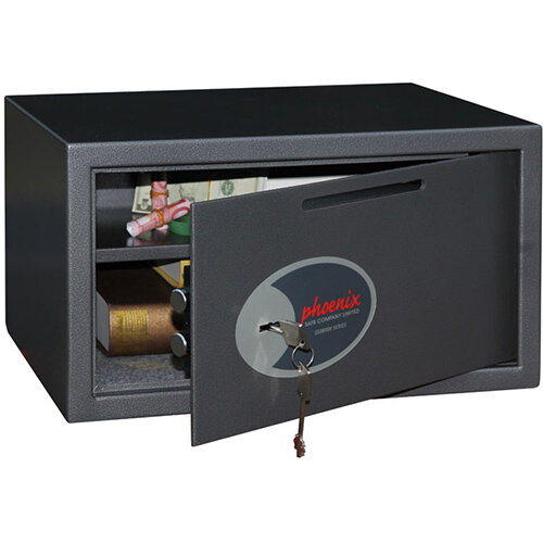 Phoenix Vela Deposit Home &Office SS0803KD Size 3 Security Safe with Key Lock Metalic Graphite 34L