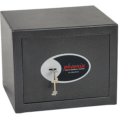 Phoenix Lynx SS1171K Size 1 Security Safe with Key Lock Metalic Graphite 11L