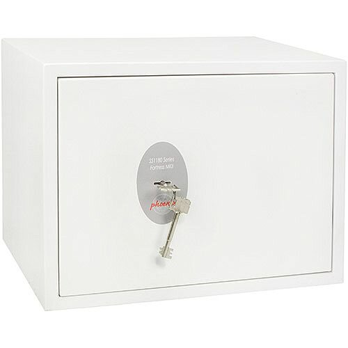 Phoenix Fortress SS1182K Size 2 S2 Security Safe with Key Lock White 24L