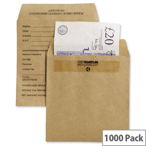 New Guardian Wage Envelopes Press Seal Medium Printed Pocket Manilla 108x102mm Pack 1000